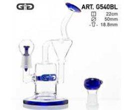 Skleněný bong Grace Glass Recycler modrý, 22cm